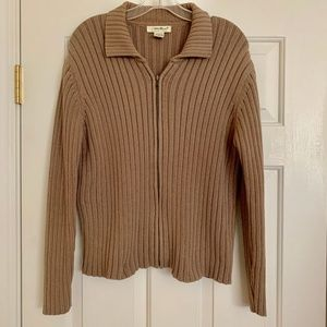 Eddie Bauer Sweater Full Zip Ribbed Tan Cotton Lg